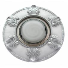 """Ecola накладка широкая гипсовая """"листья"""" для встр. свет-ка GX53 H4 серебро на белом 19х195"""
