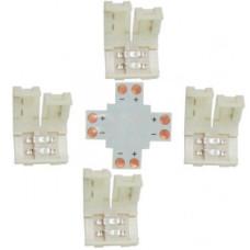 Ecola LED strip connector комплект X гибкая соед. плата + 4 зажимных разъема 2-х конт. 10 mm