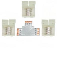 Ecola LED strip connector комплект T гибкая соед. плата + 3 зажимных разъема 4-х конт. 10 mm
