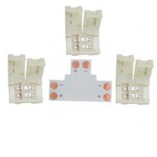 Ecola LED strip connector комплект T гибкая соед. плата + 3 зажимных разъема 2-х конт. 8 mm