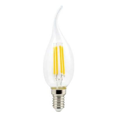 Ecola candle LED 5,0W 220V E14 4000K 360° filament прозр. нитевидная свеча на ветру (Ra 80, 100 Lm/W) 125х37 От известного производителя Ecola