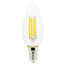 Ecola candle LED 5,0W 220V E14 2700K 360° filament прозр. нитевидная свеча (Ra 80, 100 Lm/W) 96х37