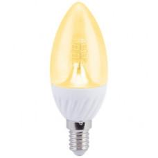 Ecola candle LED 4,0W 220V E14 золотистая 320° прозрачная свеча искристая точка (керамика) 98х37