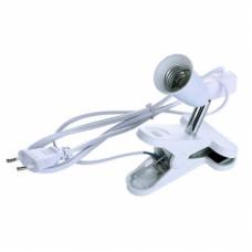 Ecola base Светильник прищепка с вилкой с выключателем - патрон E27 на шарнире 30мм Белый